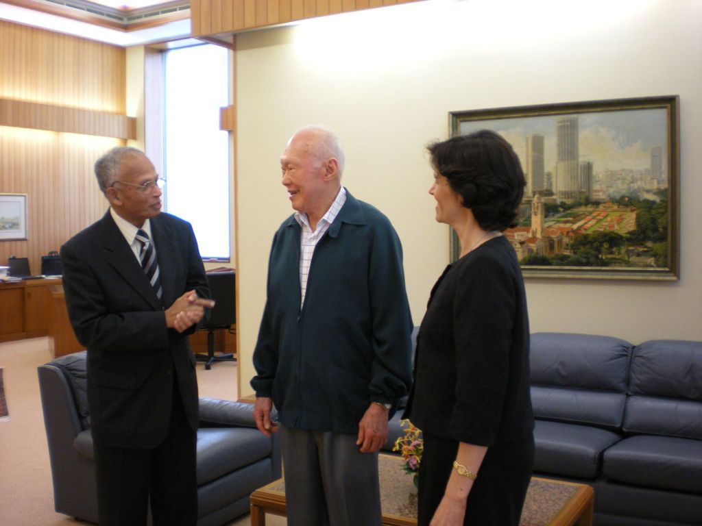 The authors with Lee Kuan Yew. Image Credit: Asit K. Biswas